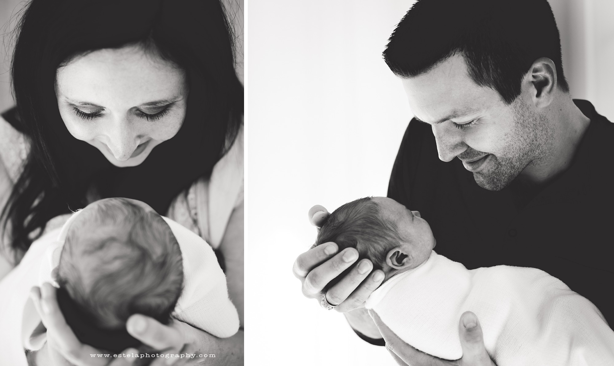A mother and father admire their baby, captured by Estela Giargei Photography, a Houston Newborn Photographer