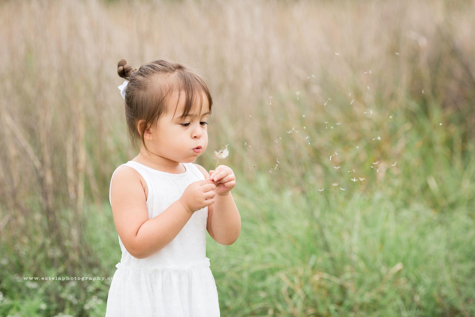 Little child blowing a dandelion
