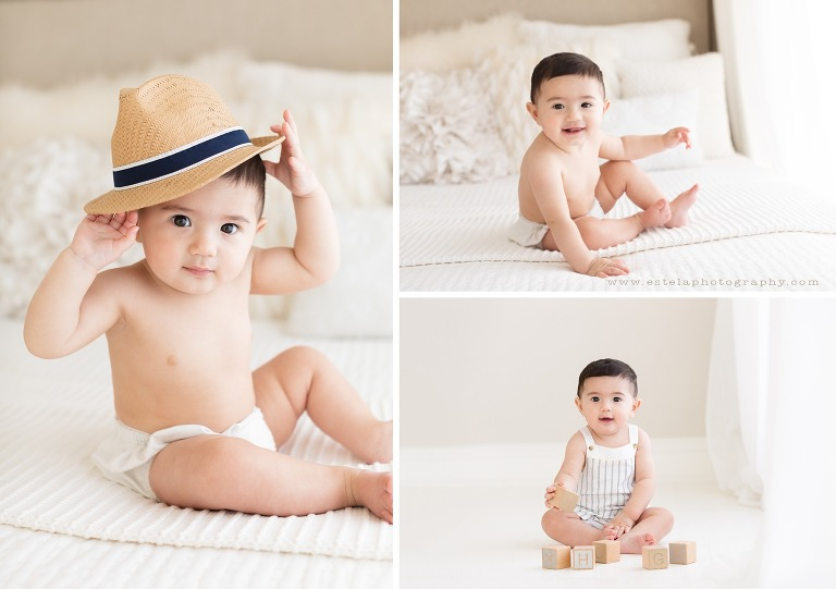 Baby Boy Playing in Natural Light Studio Session