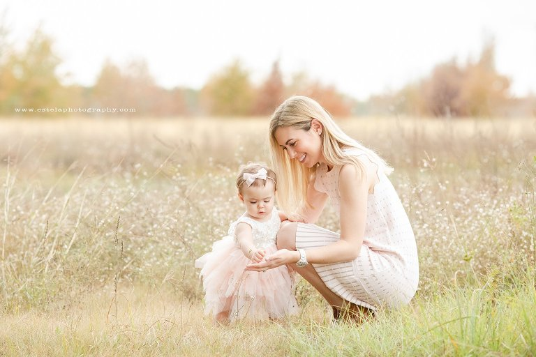 Mother and Baby Girl in Outdoor Winter Field Photography Session in Houston